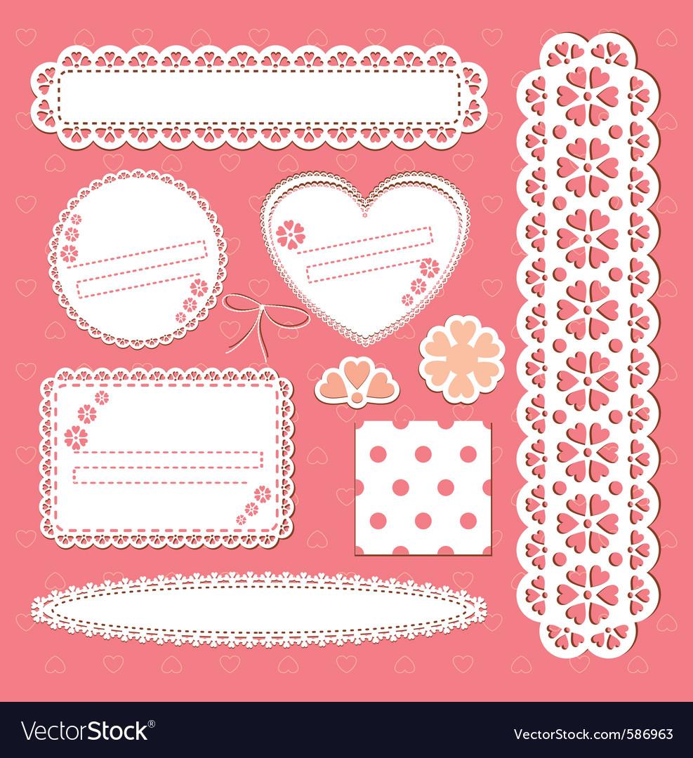 Cute lace frames vector