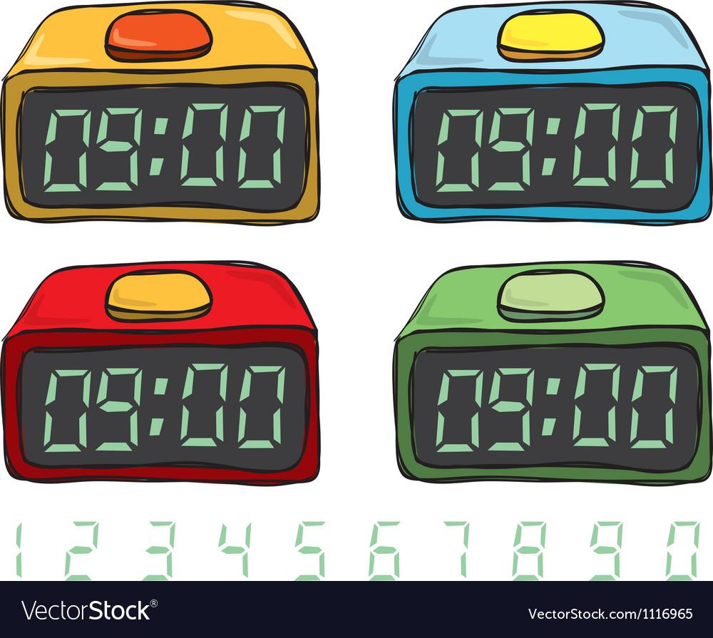 Digital clock set vector