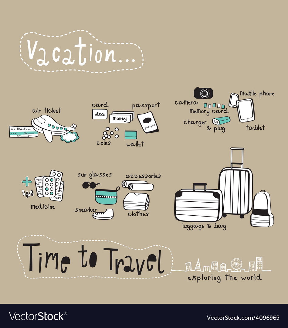 Time to travel doodle brown tone vector