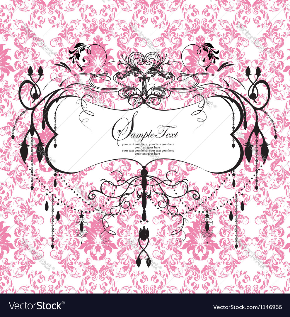 Pink floral background with abstract chandelier vector