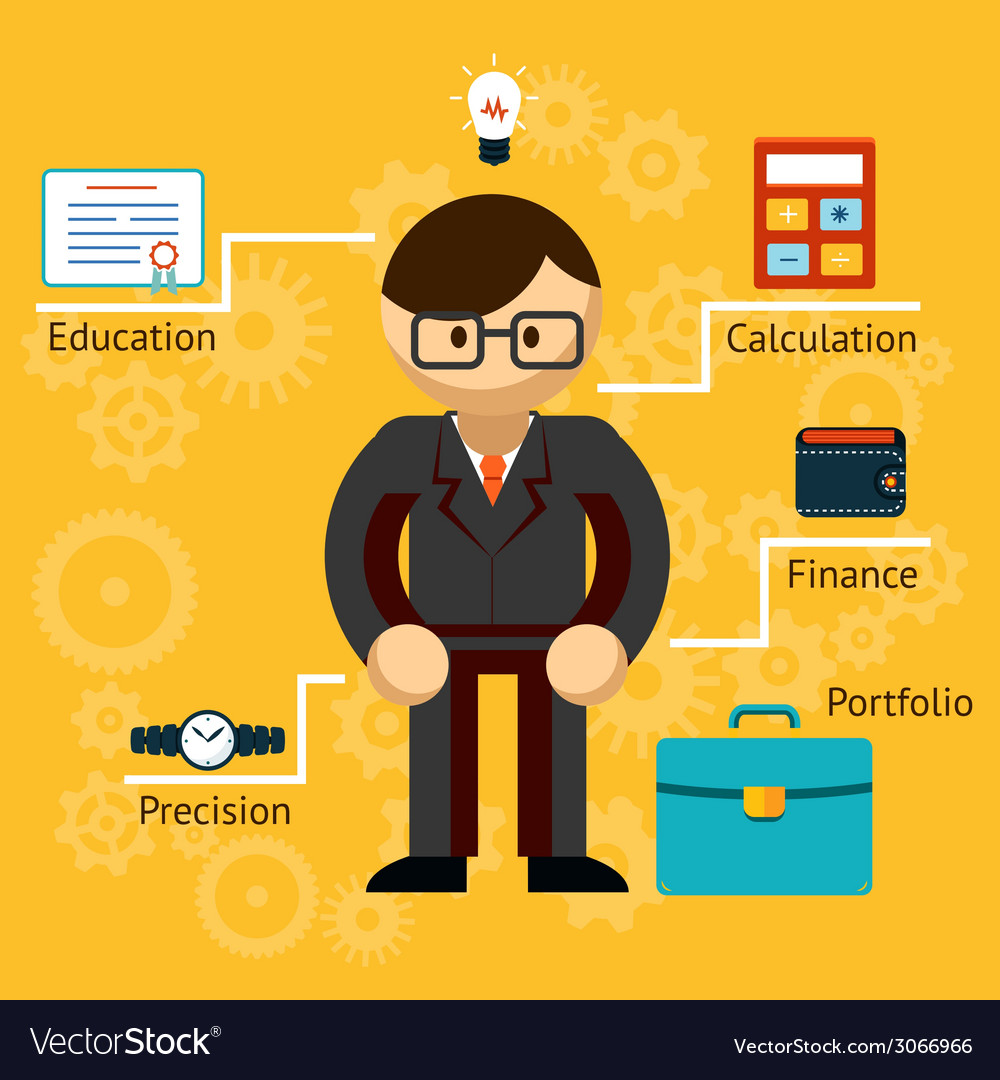 With information on a businessman vector