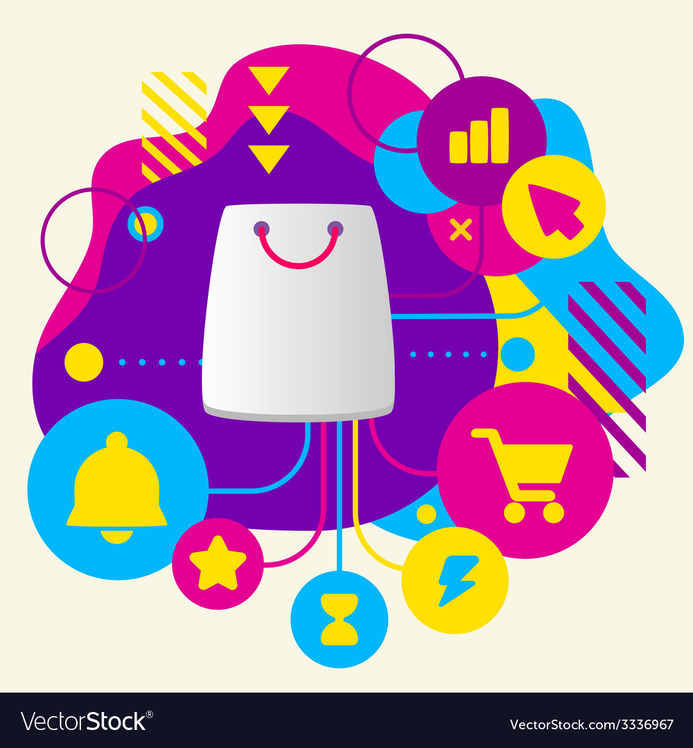 Shopping bag on abstract colorful spotted vector