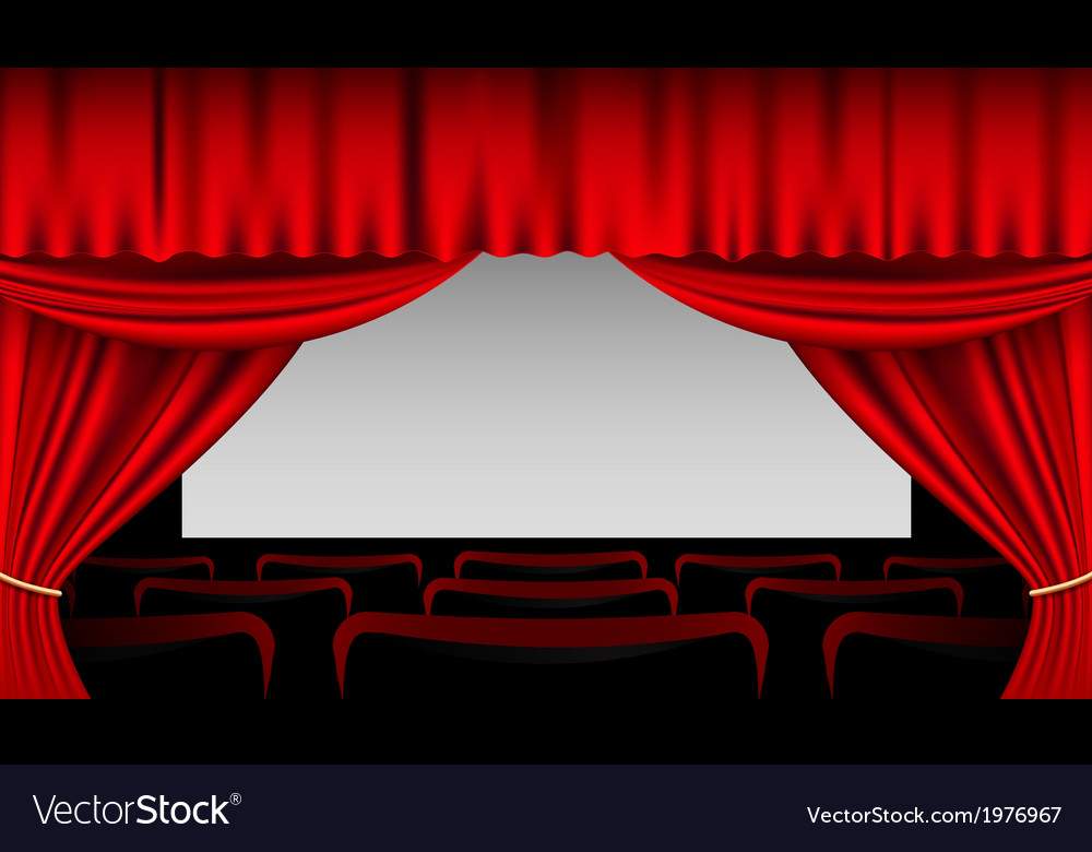 Stage interior with red curtains and seats vector