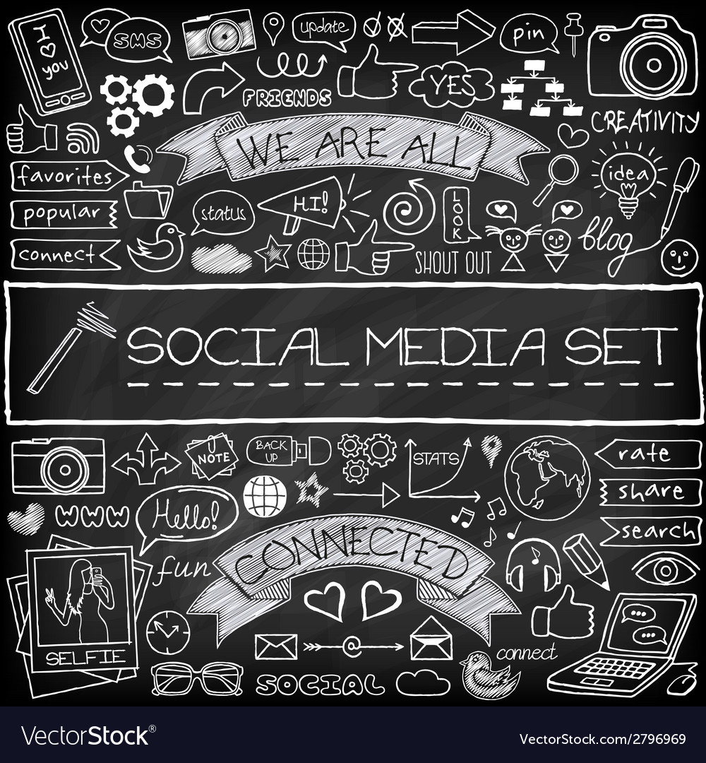 Doodle social media icons set with chalkboard vector