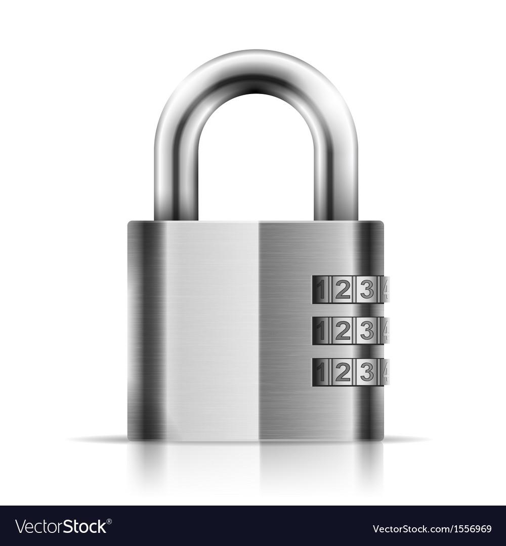 Steel closed isolated padlock vector