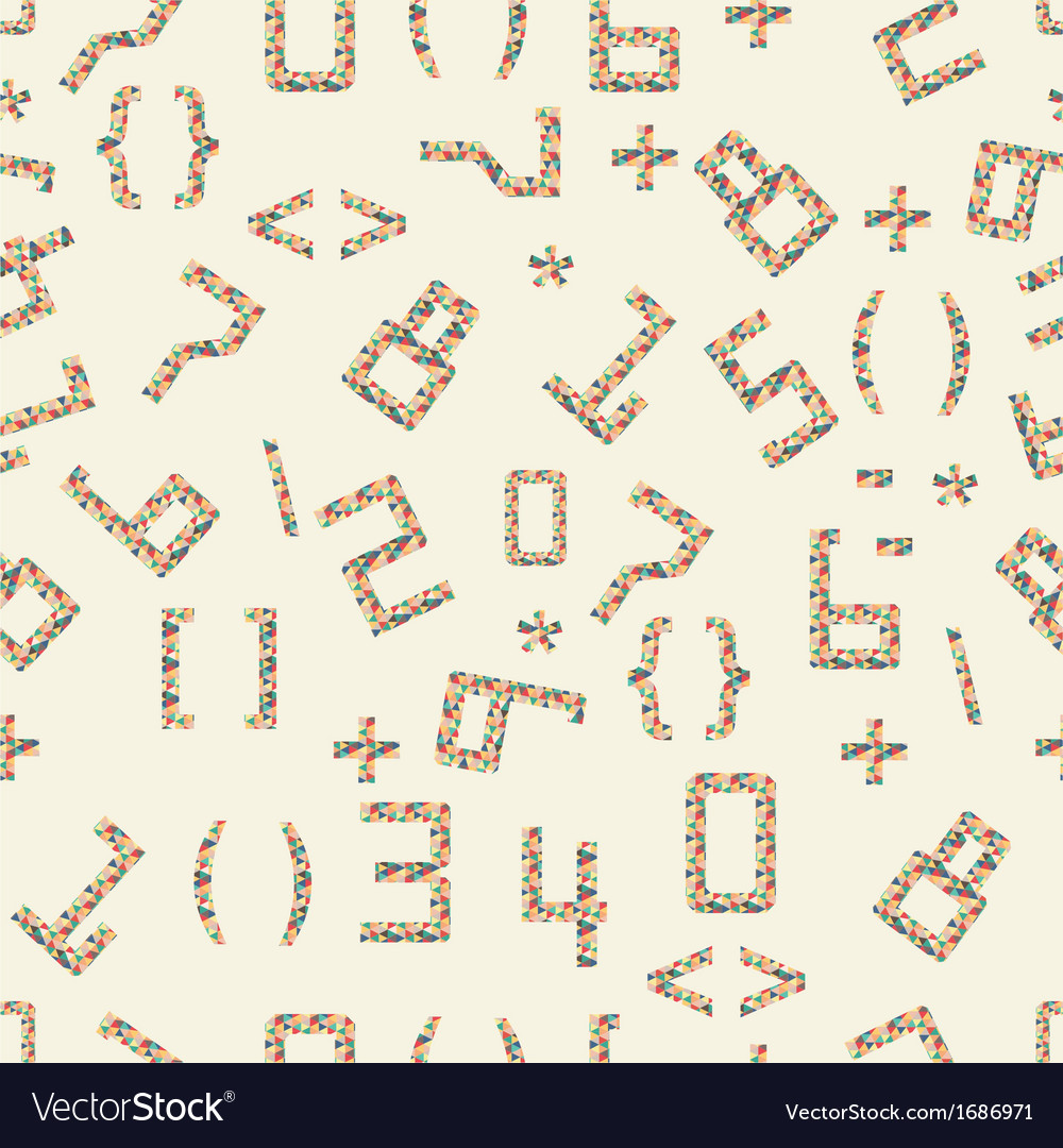 Seamless of numbers and geometric shapes vector