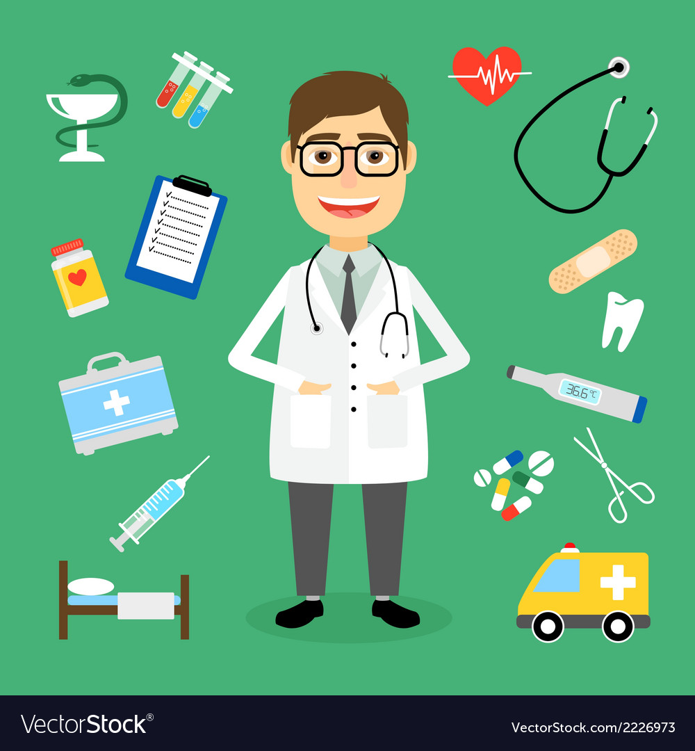 Doctor surrounded by medical icons vector