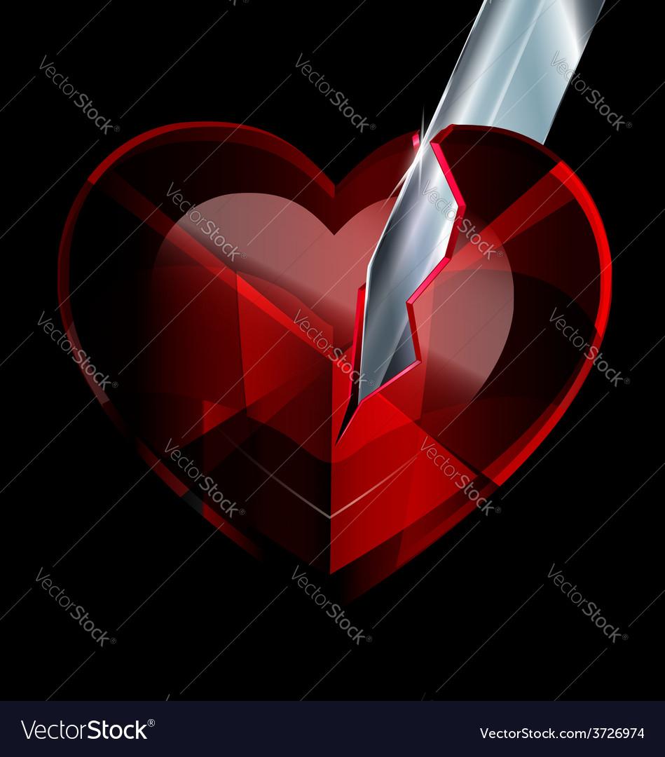 Broken heart-crystal and blade vector