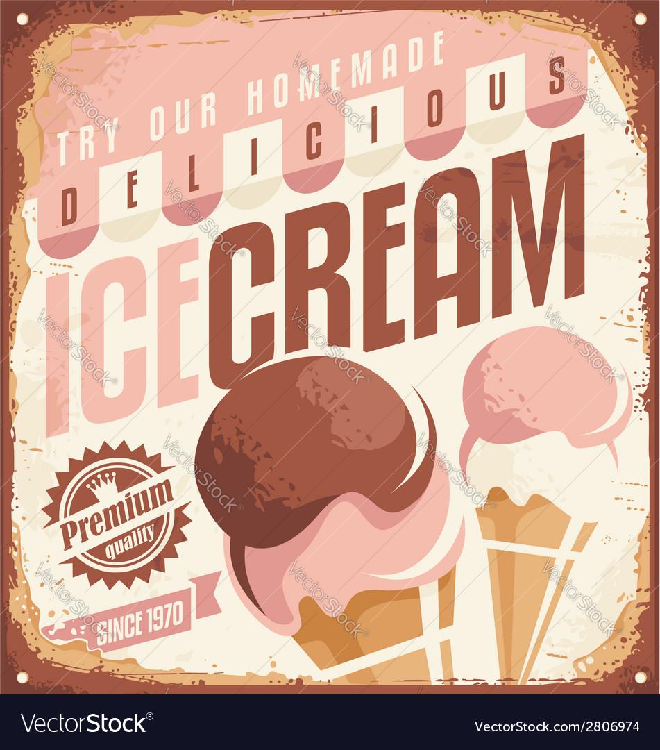 Retro ice cream tin sign design concept vector