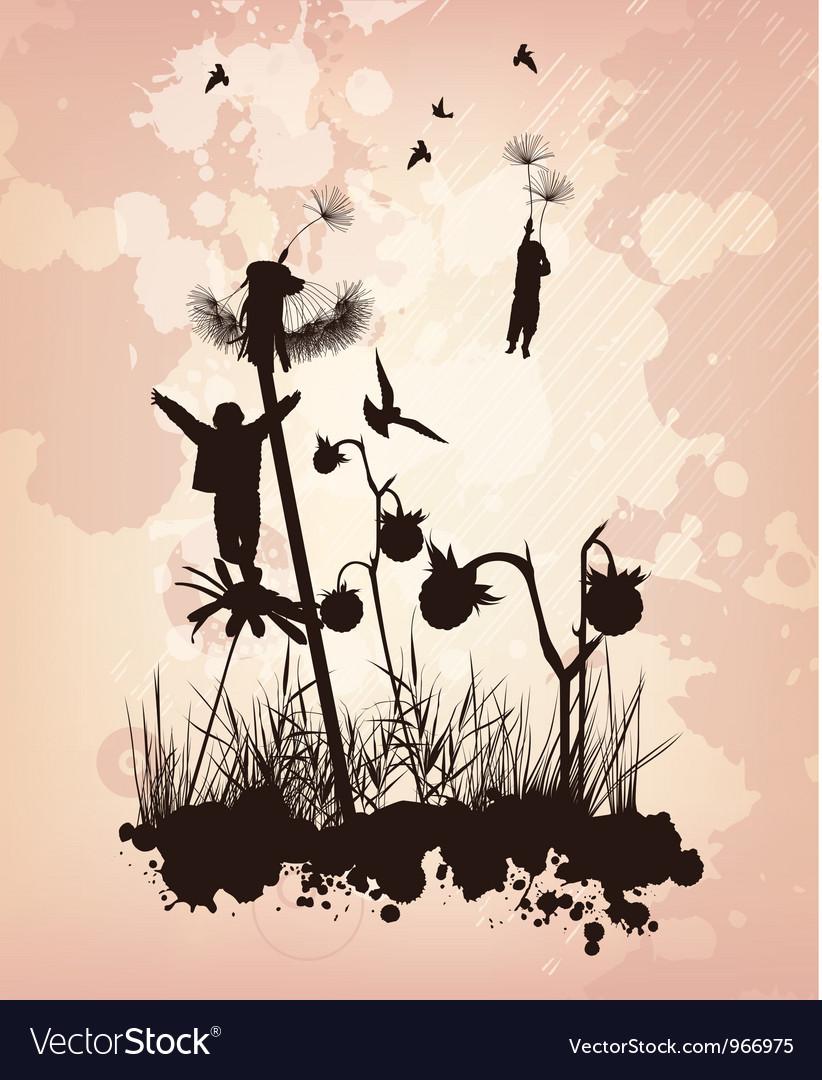 Dandelion children concept background vector