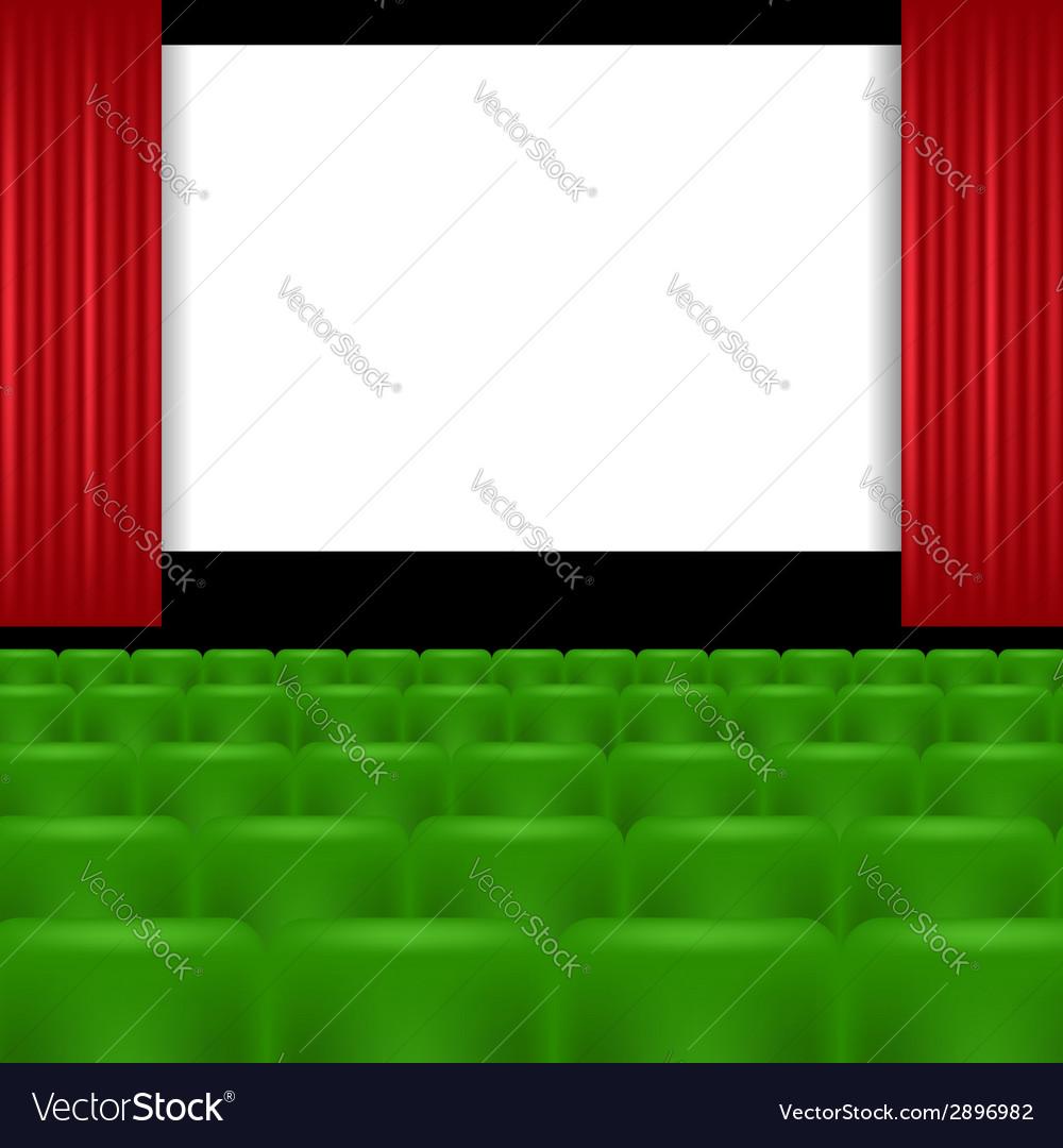 Cinema screen and green seats vector