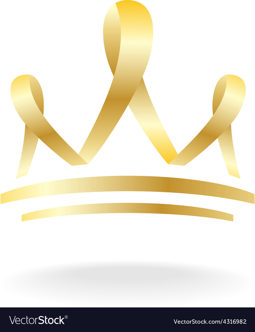Golden ribbon crown sign vector