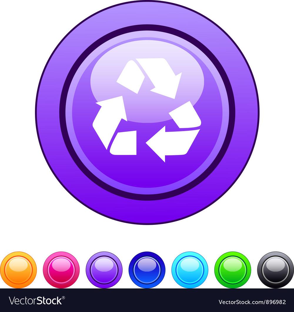 Recycling circle button vector