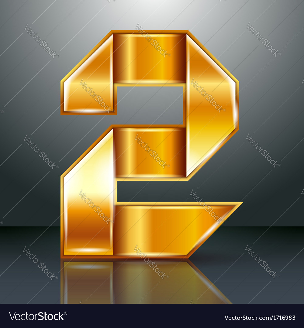 Number metal gold ribbon - 2 - two vector
