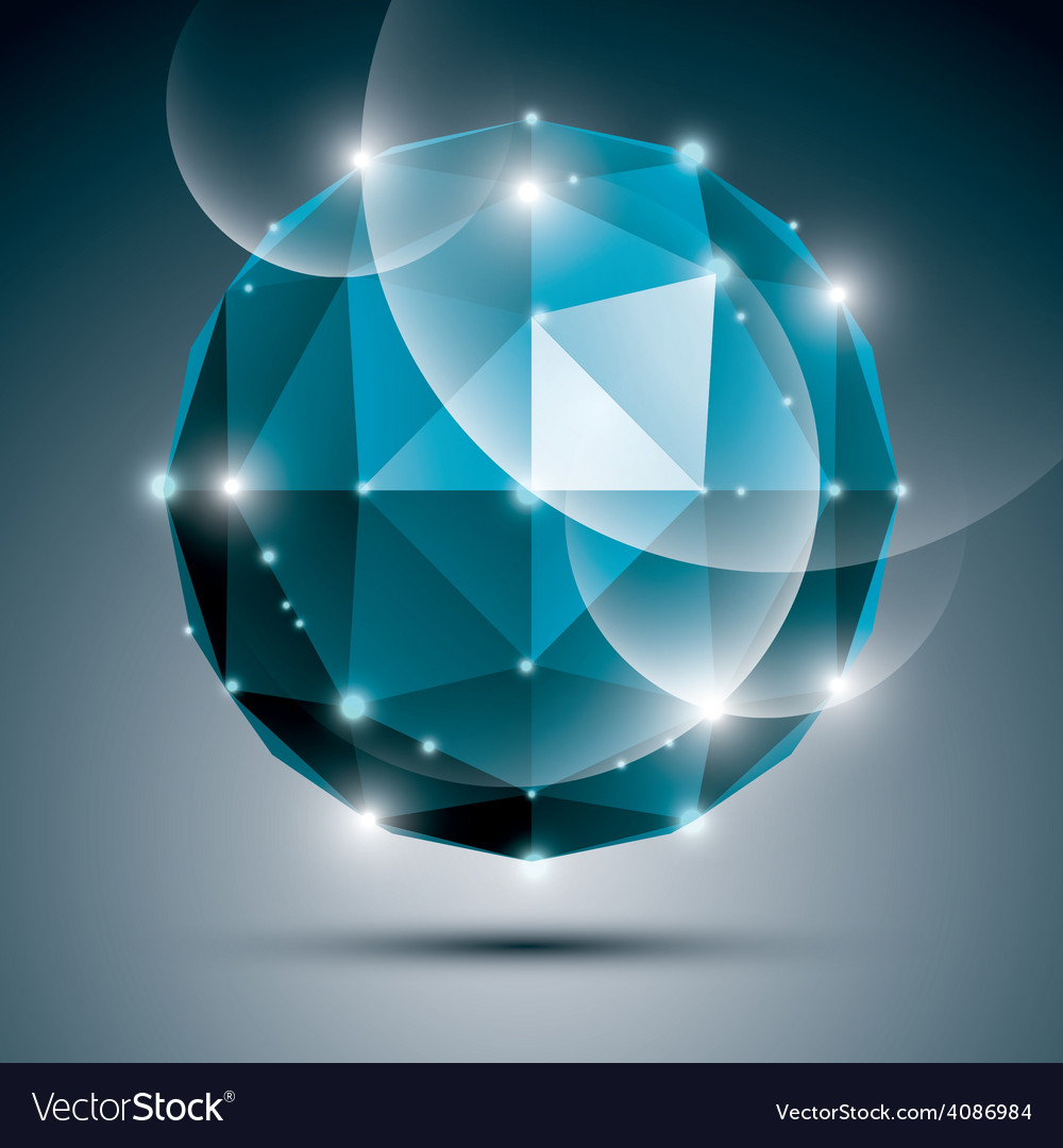 Abstract 3d sapphire gleam sphere with sparkles vector