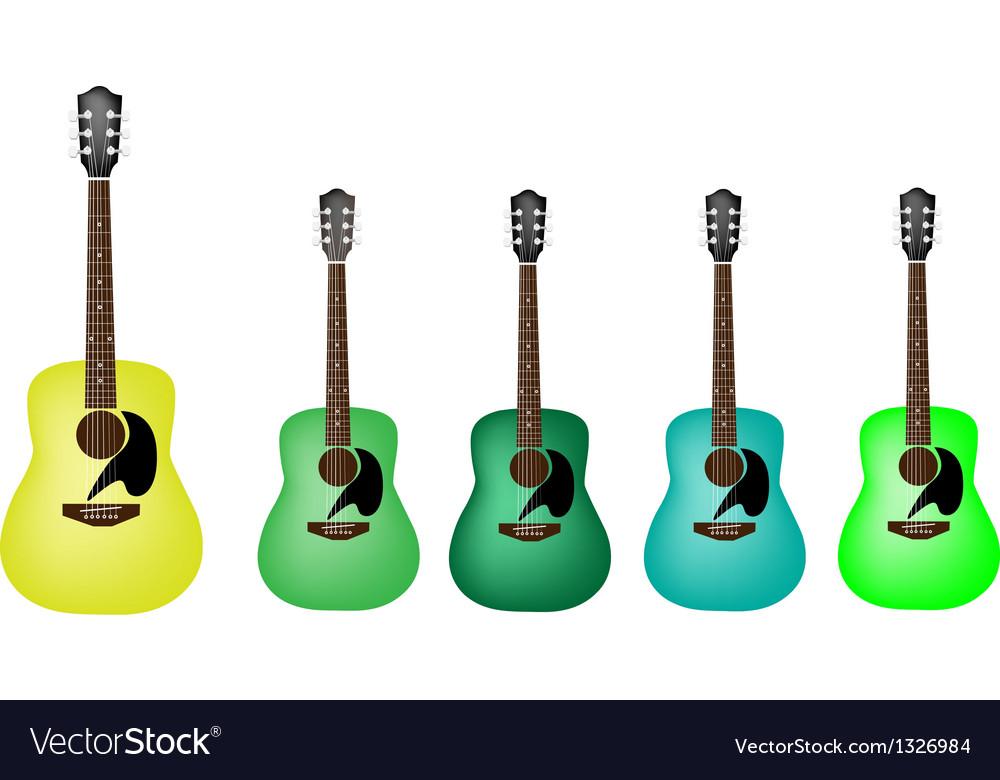 Beautiful green colors of acoustic guitars vector