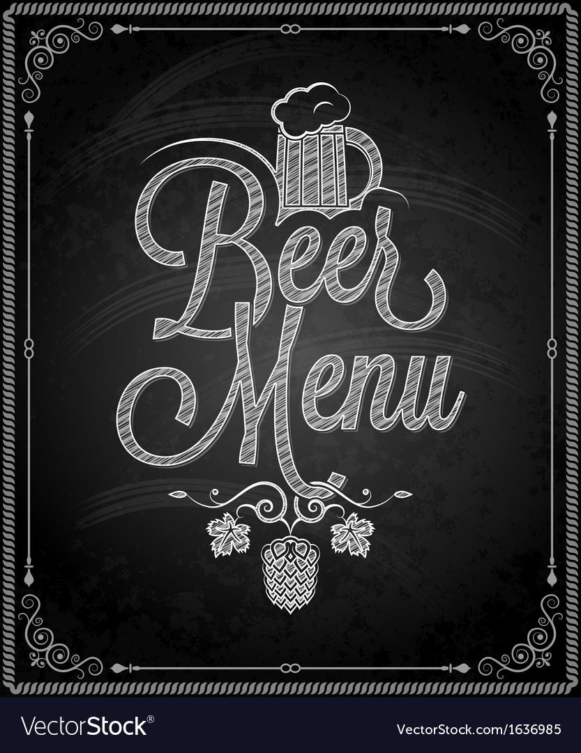 Chalkboard beer vector
