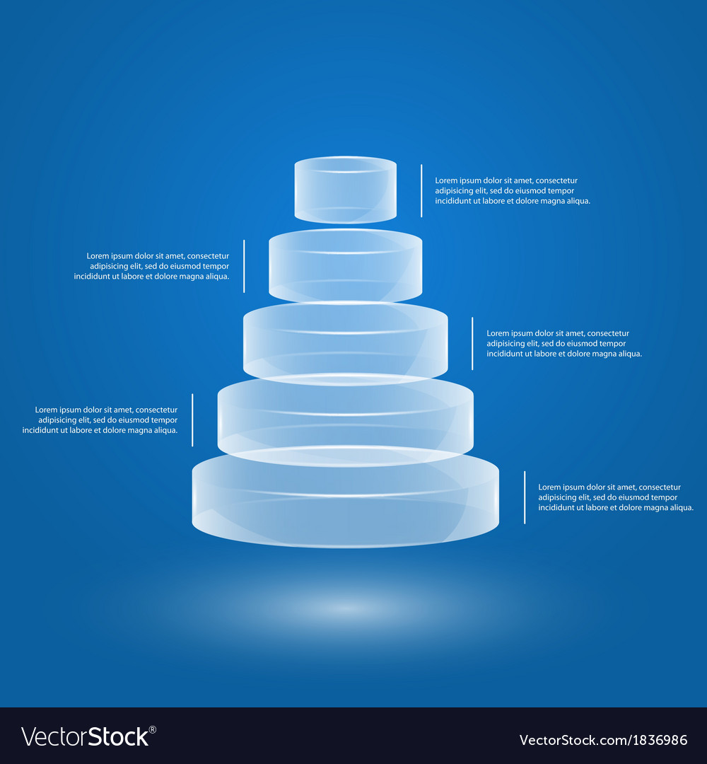 Glass pyramid infographic 2 vector