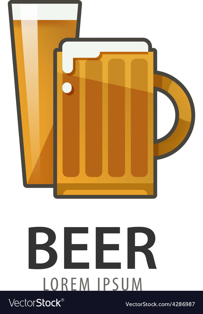Original badge logo design icon template for beer vector