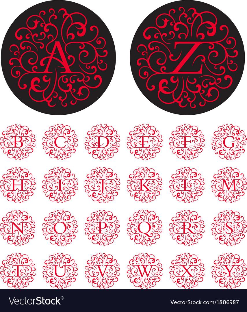 Swash alphabet vector