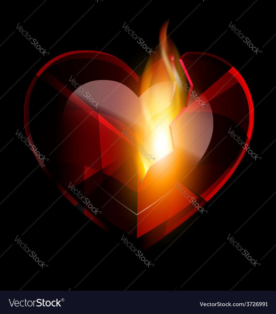 Broken heart-crystal and flame vector