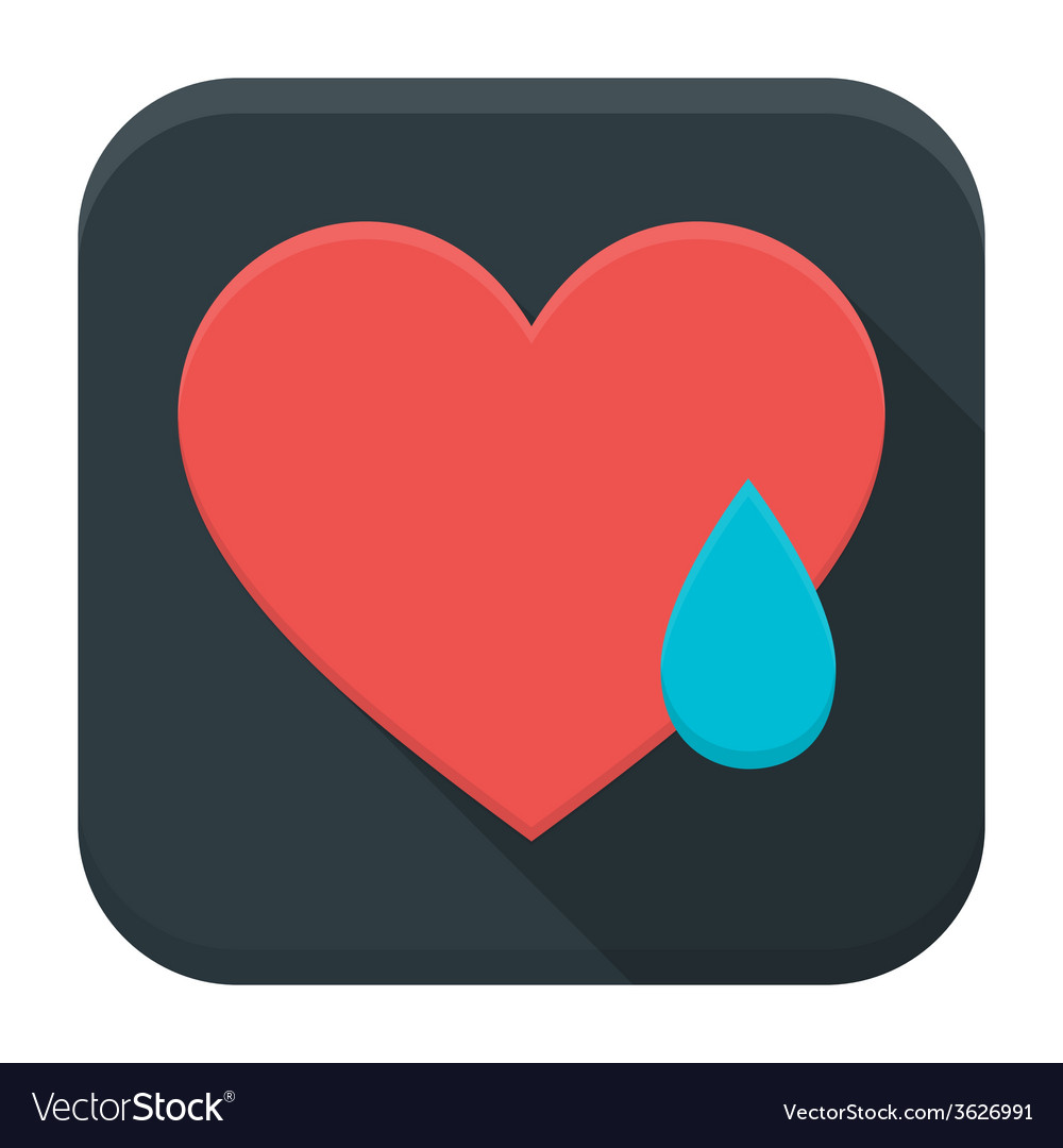 Crying heart app icon with long shadow vector