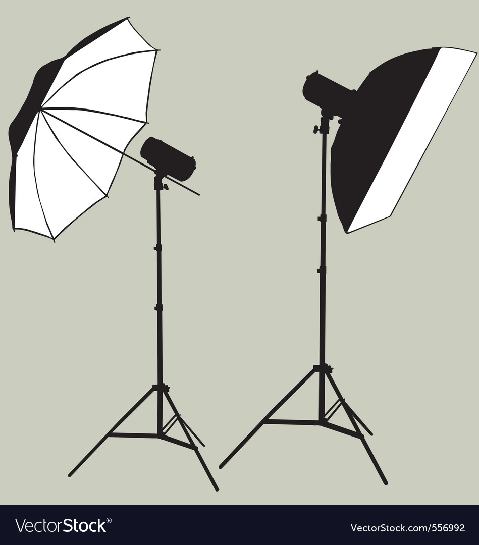 Photographic flash studio lighting silhouette vector