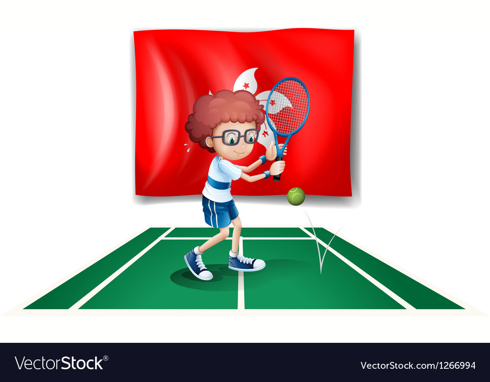 The flag of hongkong with the tennis player vector