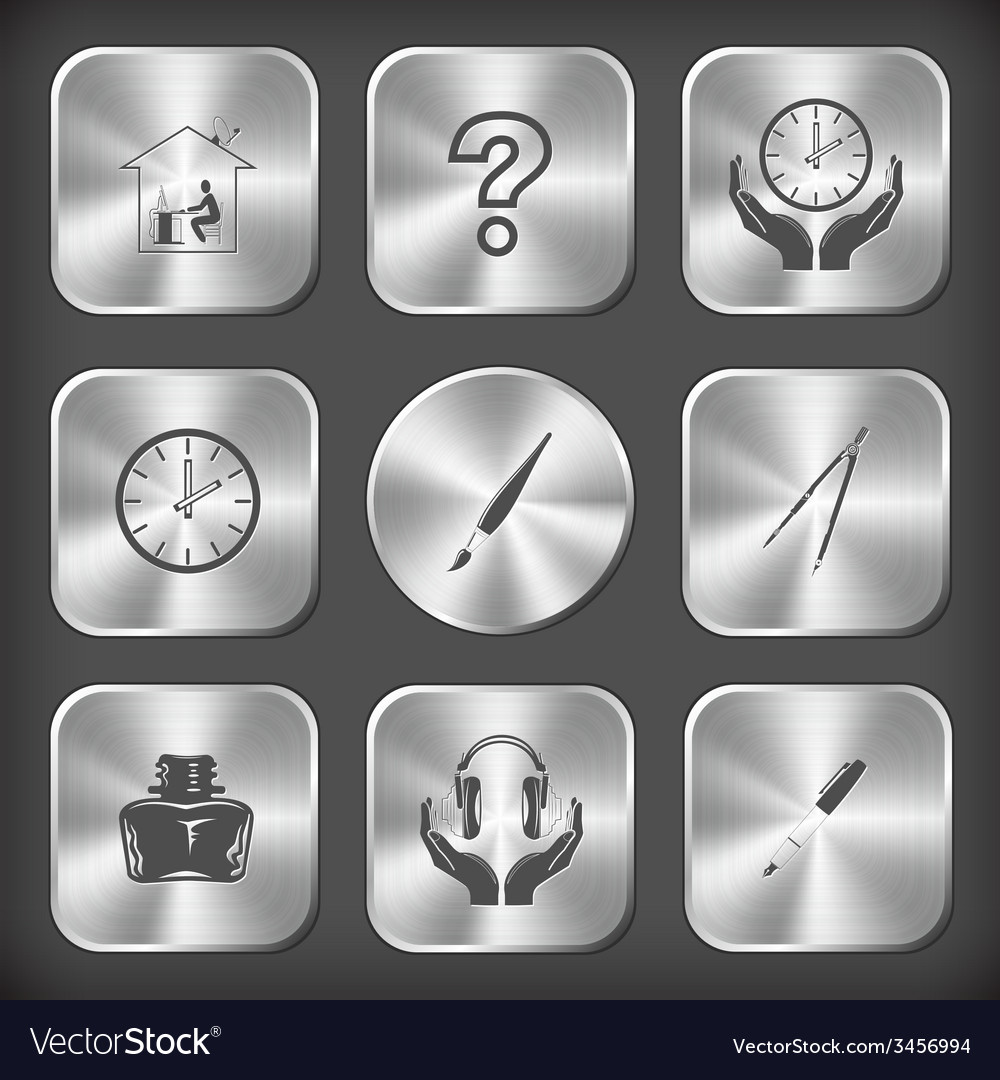 Home work query sign clock in hands brush caliper vector
