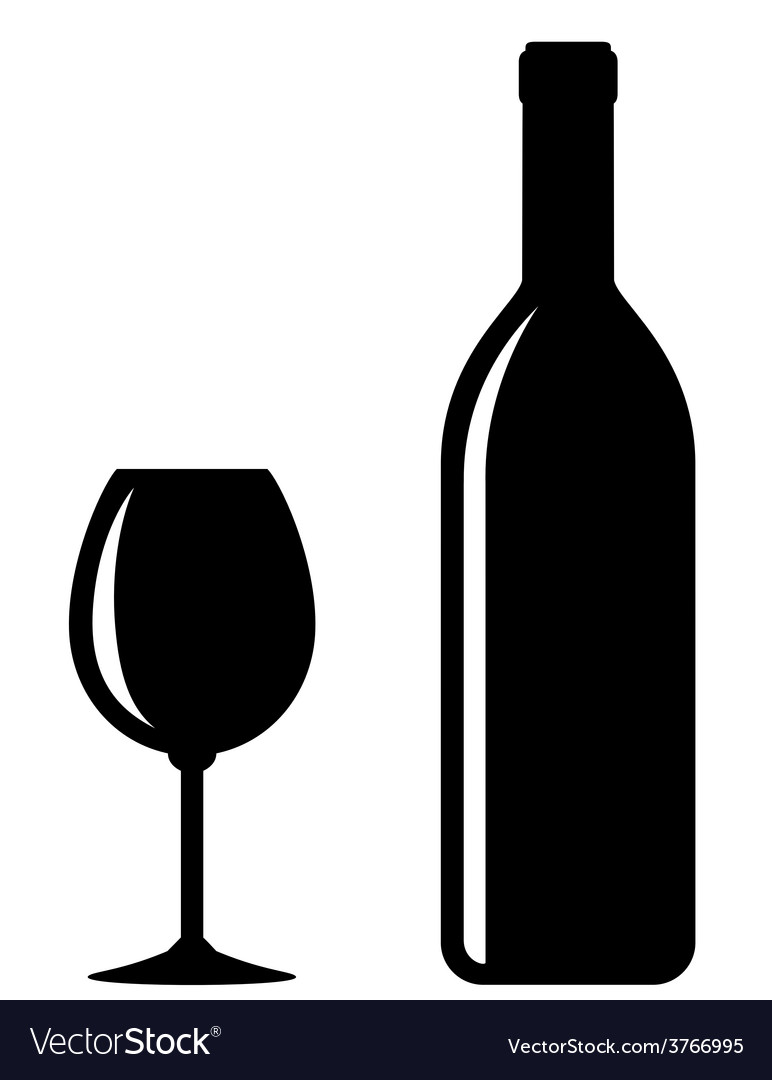 Black wine bottle with glass vector