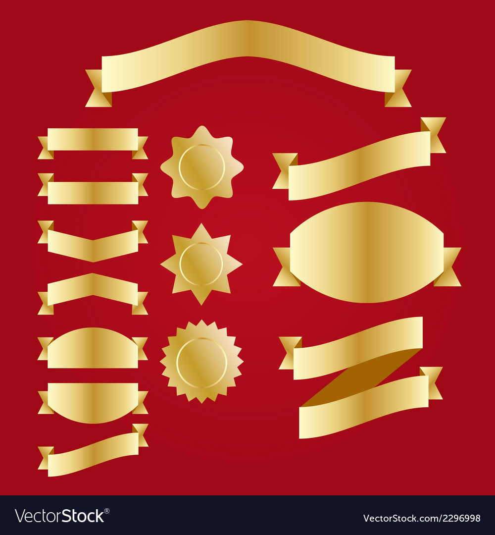 Set of retro ribbons and labels gold vector
