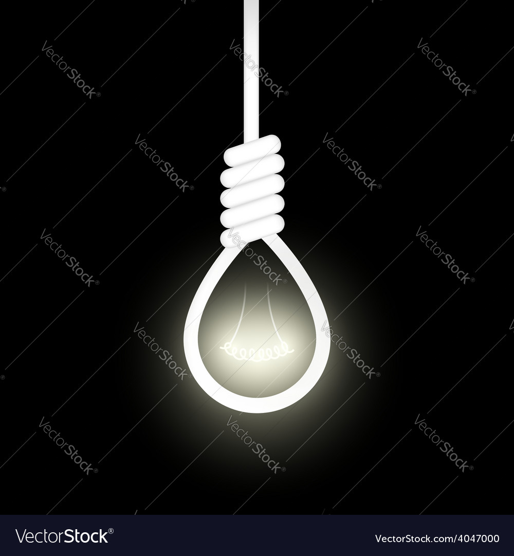 Noose from the gallows with light inside vector
