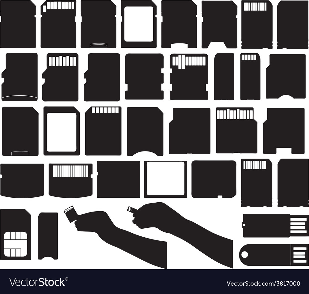 Set of different electronic storage devices vector
