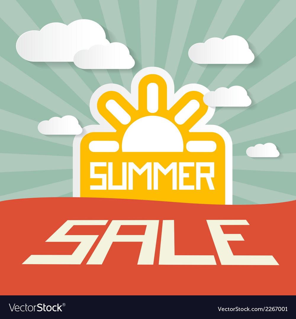 Retro summer sale paper title on landscape vector