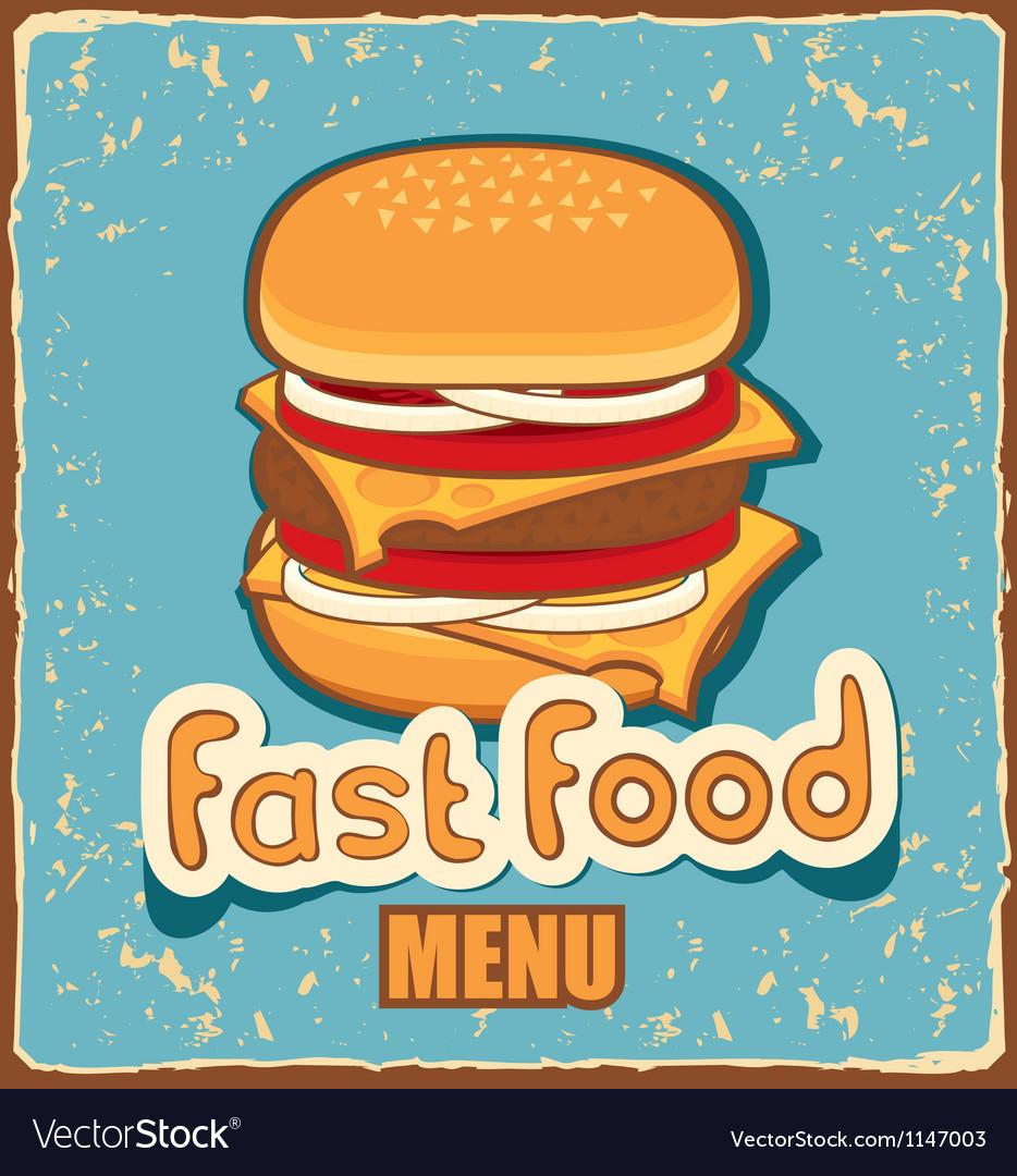 Retro cheeseburger vector