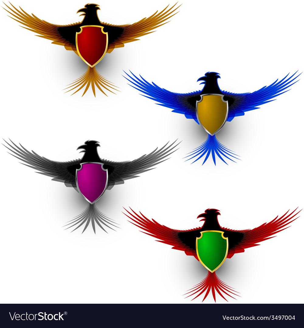 Bird eagle honor shield sign vector