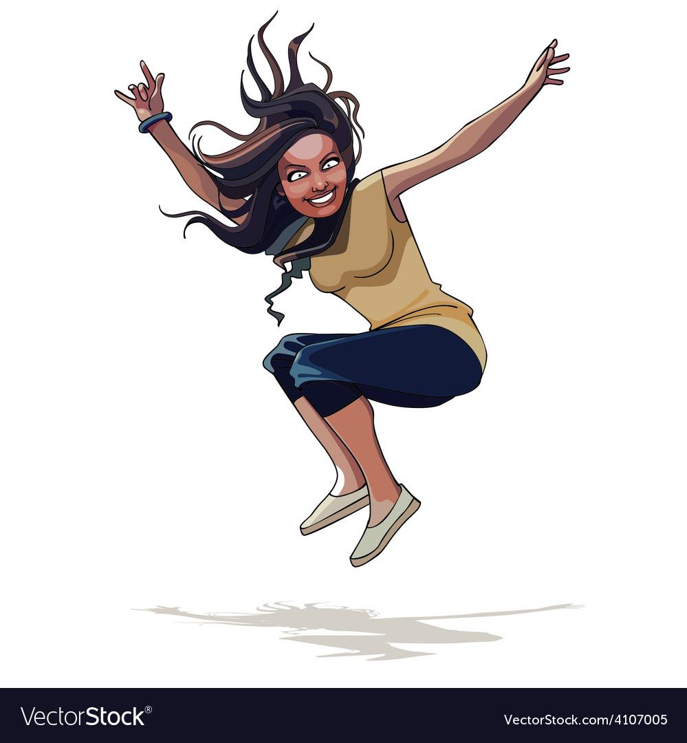 Cartoon happy girl with long hair jumping vector