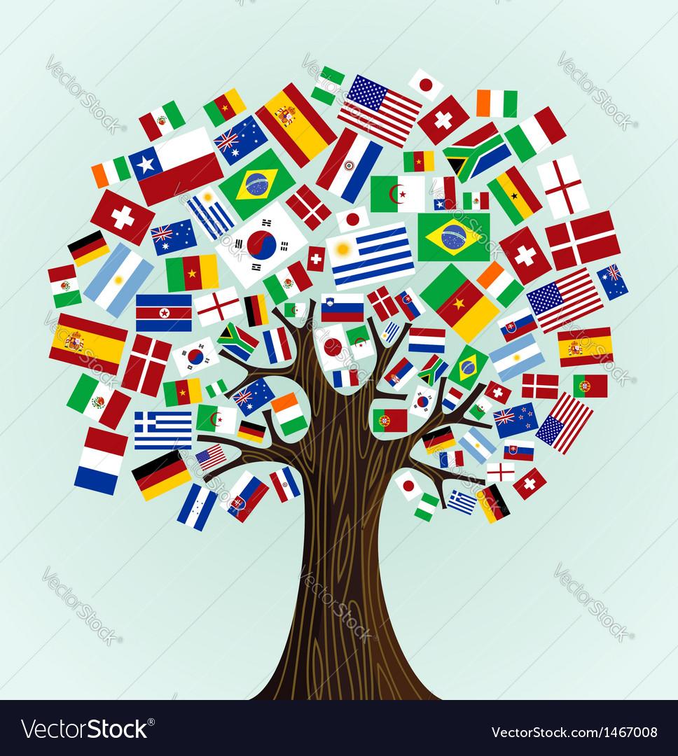 World flags tree vector
