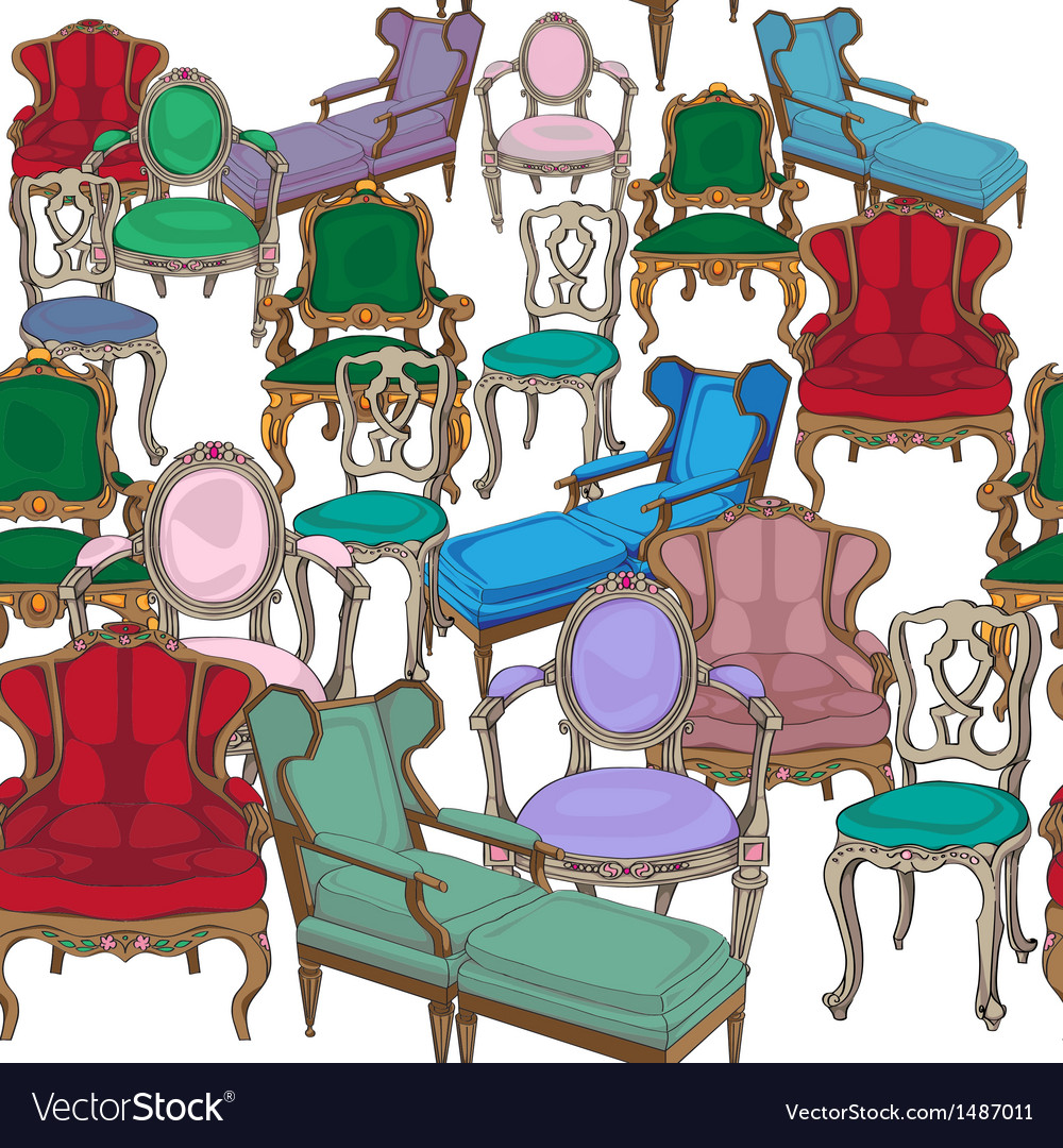 Antique chairs pattern vector
