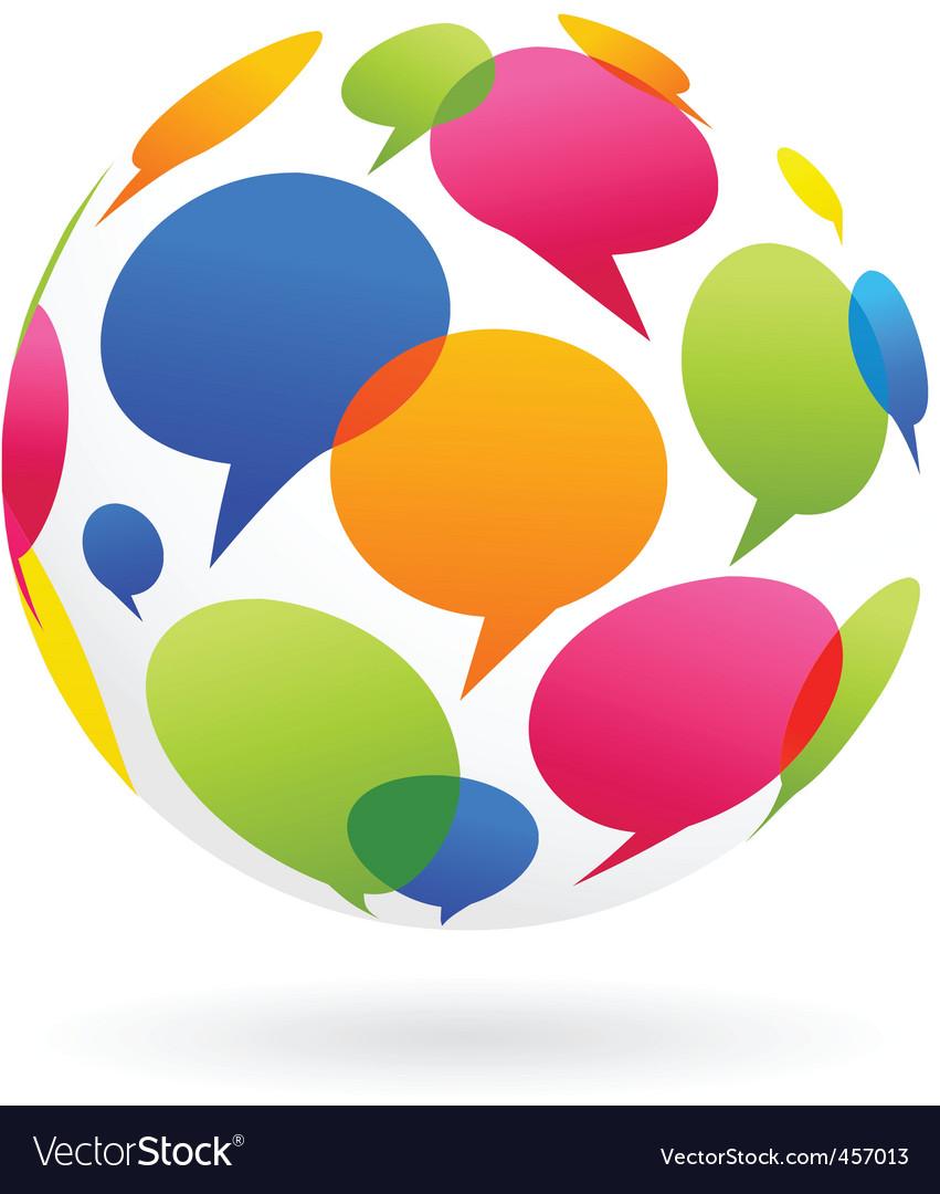 Globe of dialog bubble vector