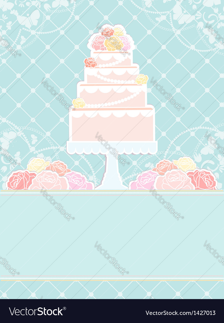Pink cake and roses vector