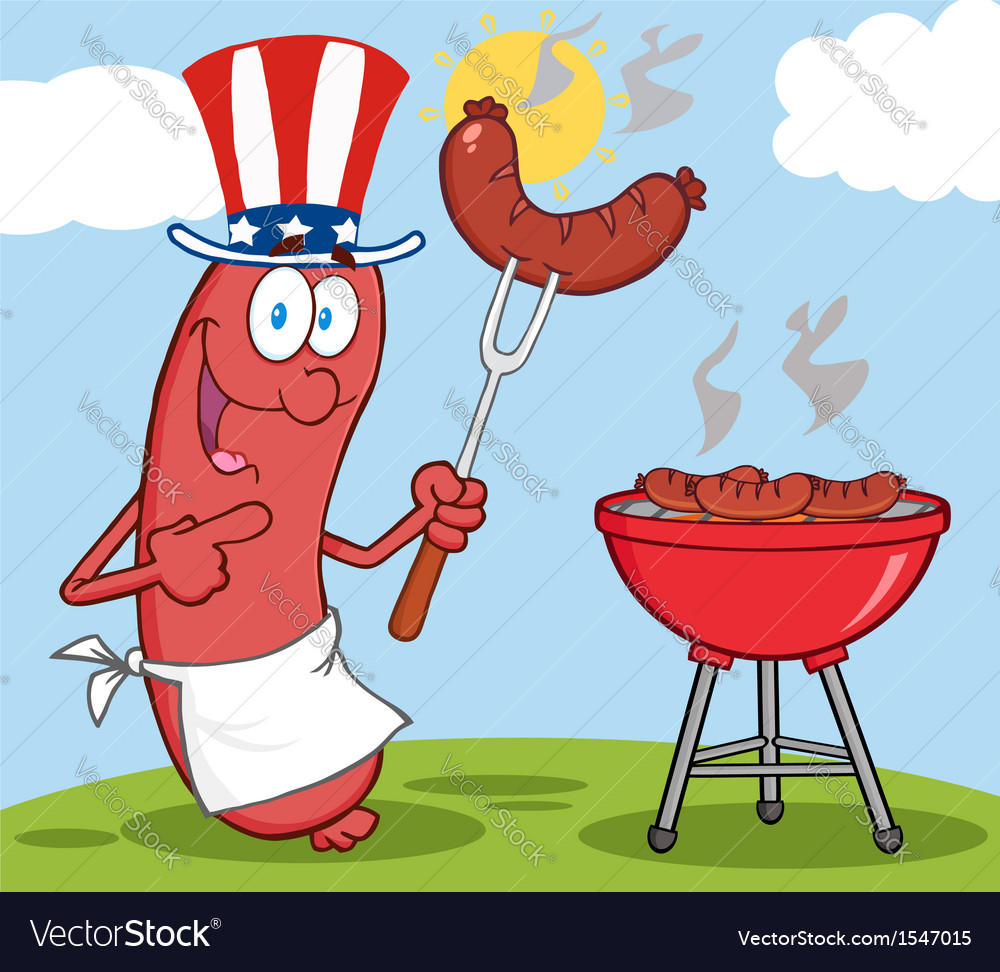 Bbq cooked sausage cartoon vector