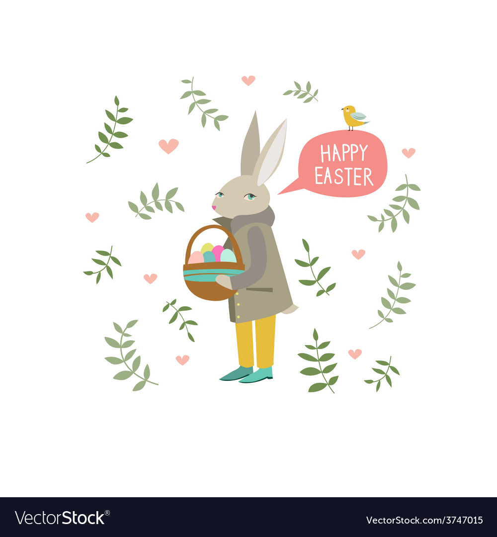 Easter rabbit with little bird vector