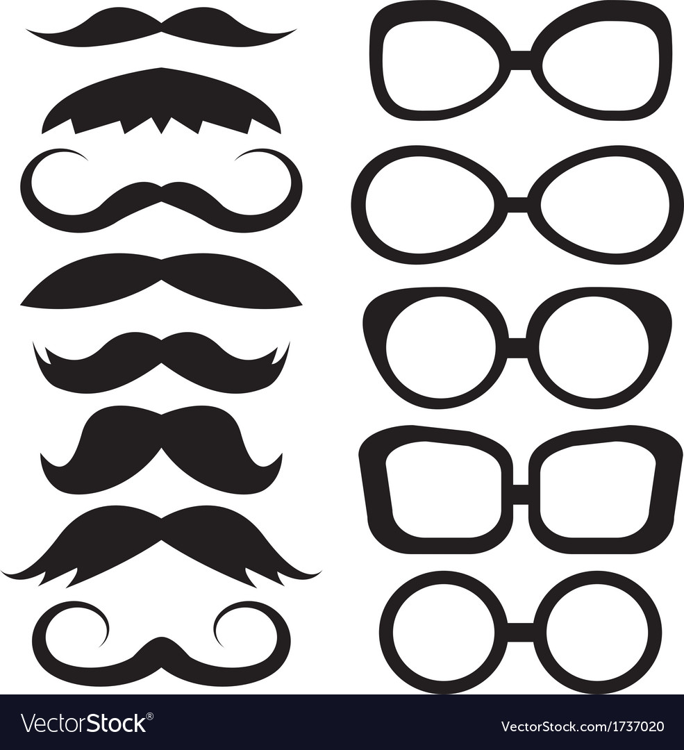 Set glasses and mustache vector