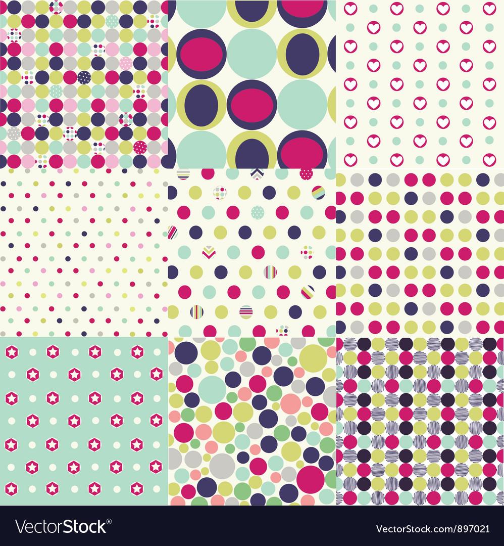 Seamless patterns polka dot set vector