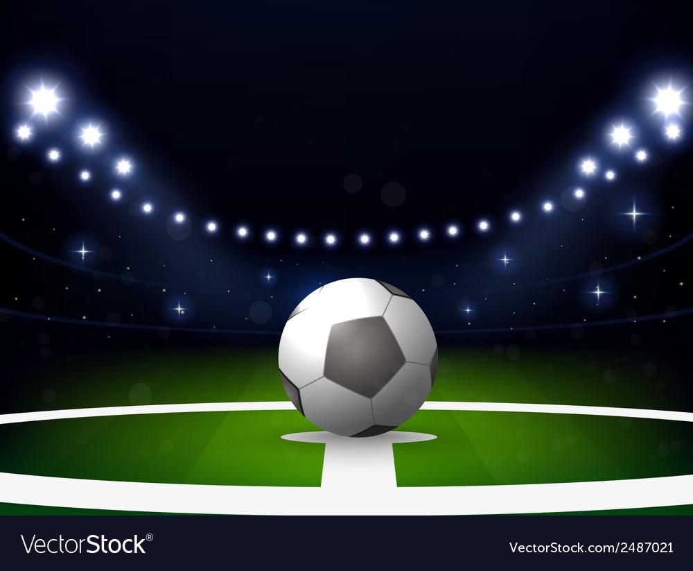 Soccer stadium with ball and spotlight at night vector