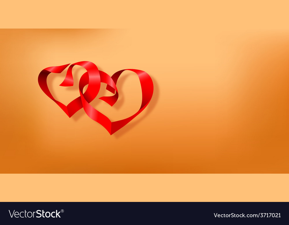 Valentines day postcard with two hearts vector