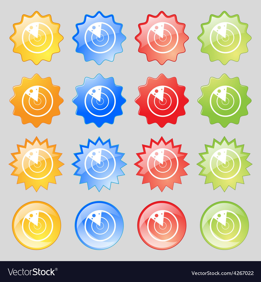 Radar icon sign big set of 16 colorful modern vector