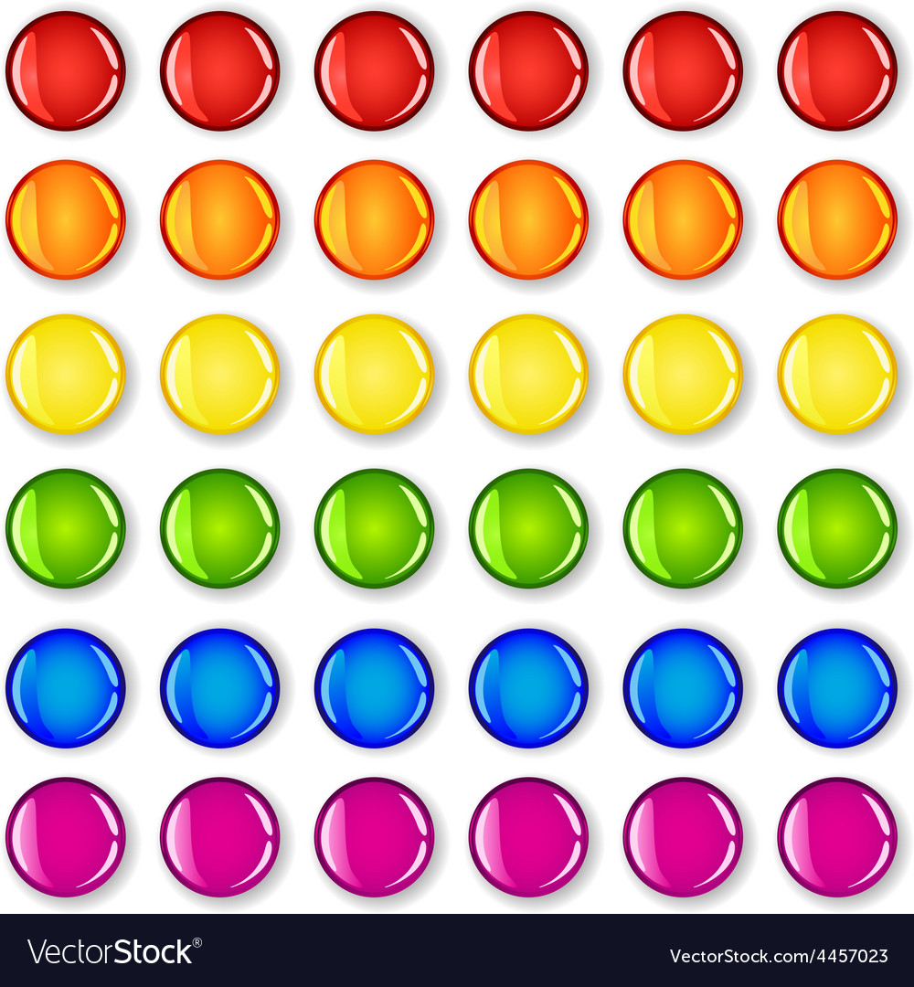 Glossy buttons with shadows in rainbow colors vector