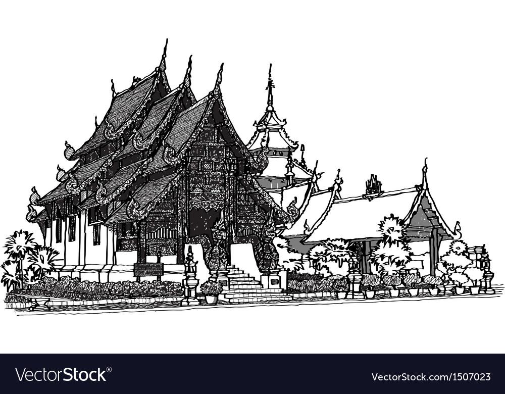 Lanna temple sketchbook vector